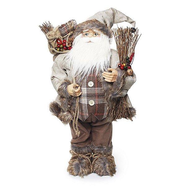 Noel em Pé Xadrez Marrom Segurando Saco de Presente 65cm - 01 unidade - Cromus Natal - Rizzo Embalagens