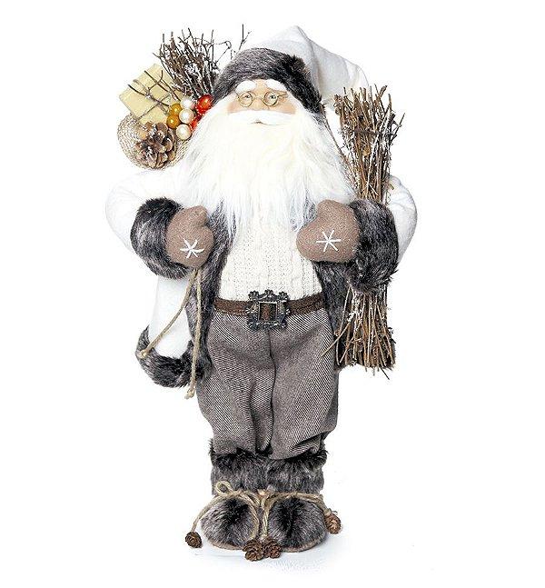 Noel em Pé Cinza Segurando Saco de Presente 47cm - 01 unidade - Cromus Natal - Rizzo Embalagens