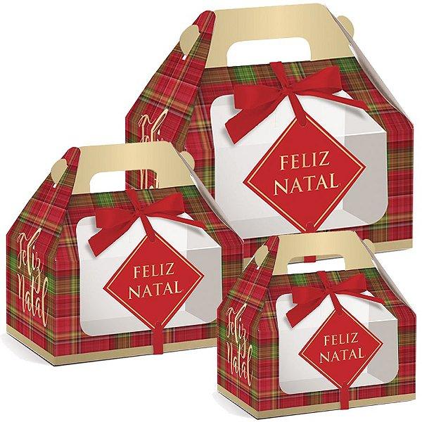 Caixa Maleta Kids com Visor Xadrez Natal 10 unidades - Natal Cromus - Rizzo Embalagens e Festas