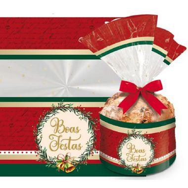Saco para Panetone de 500g - Boas Festas - Barrado - Cromus - Rizzo Embalagens e Festas
