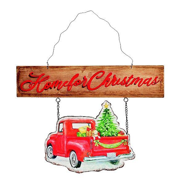 Placa de Madeira e Metal Home for Cristmas 35cm x 35cm - Natal Cromus - Rizzo Embalagens e Festas