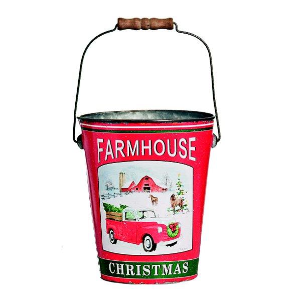Cachepot de Metal de Natal Farm House 20cm x 25cm - Natal Cromus - Rizzo Embalagens e Festas
