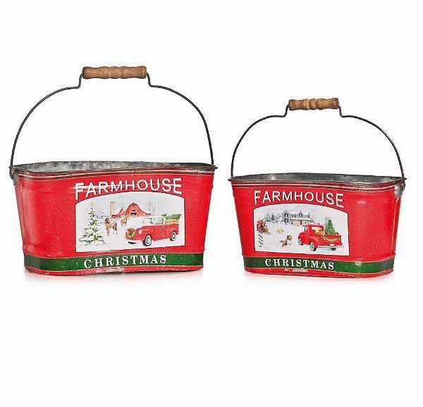 Cachepot de Metal de Natal Farm House 2 unidades - Natal Cromus - Rizzo Embalagens e Festas