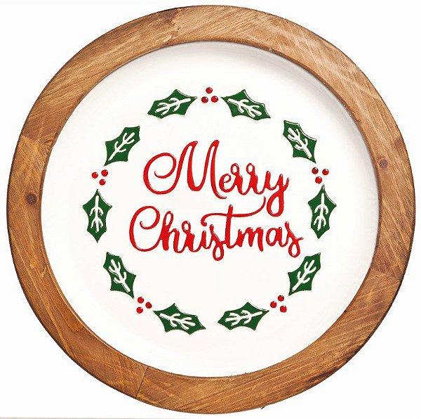 Bandeja Redonda de Natal Merry Cristmas em Madeira e Metal 40cm - Natal Cromus - Rizzo Embalagens e Festas