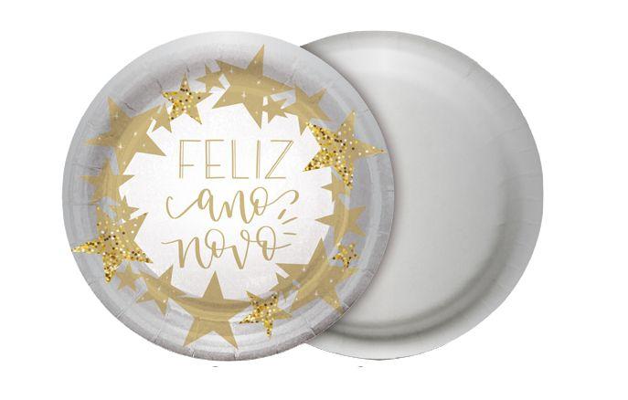 Prato Redondo Ano Novo 18cm - 08 unidades - Cromus Natal - Rizzo Embalagens