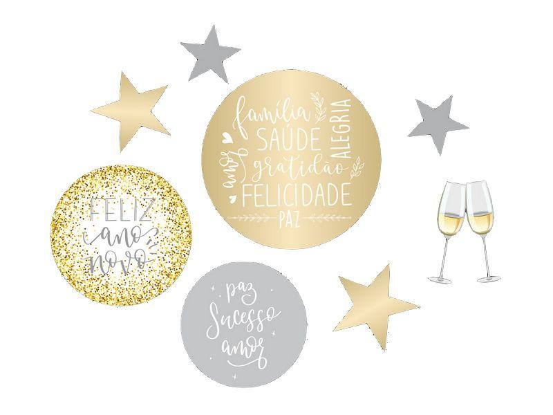 Cartaz Decorativo Ano Novo - Sortido - 08 unidades - Cromus Natal - Rizzo Embalagens