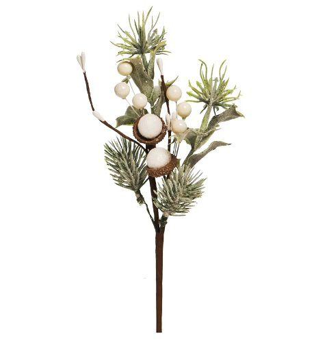 Galho Curto Branco e Verde Claro 25cm - 01 unidade - Cromus Natal - Rizzo Embalagens