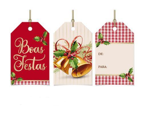 Tags De Para com cordão - Sinos Natalinos - 12 unidades - Cromus Natal - Rizzo Embalagens