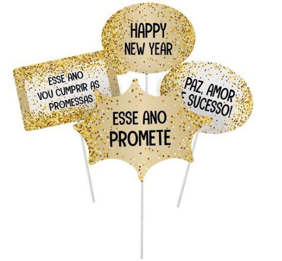 Plaquinhas Divertidas Ano Novo  - 08 unidades - Cromus Natal - Rizzo Embalagens