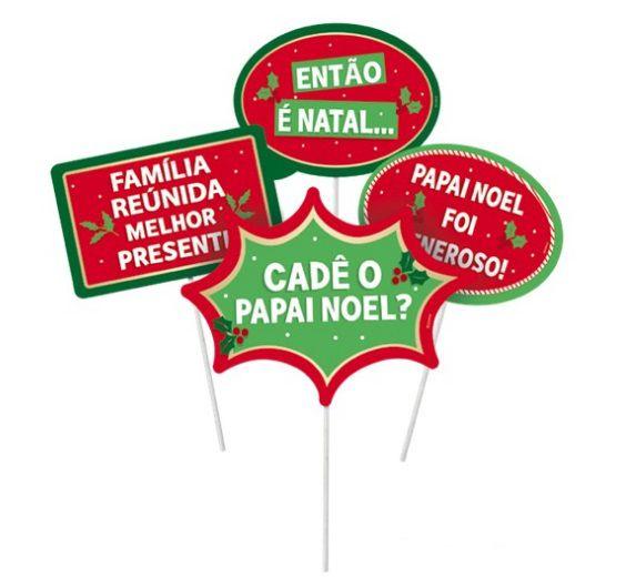 Plaquinhas Divertidas Boas Festas- 08 unidades - Cromus Natal - Rizzo Embalagens