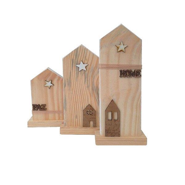 Enfeite de Mesa Trio Igreja  - 03 unidades - Cromus Natal - Rizzo Embalagens