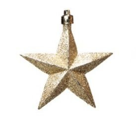 Enfeite Para Pendurar Estrela Ouro - 06 unidades - Cromus Natal - Rizzo Embalagens