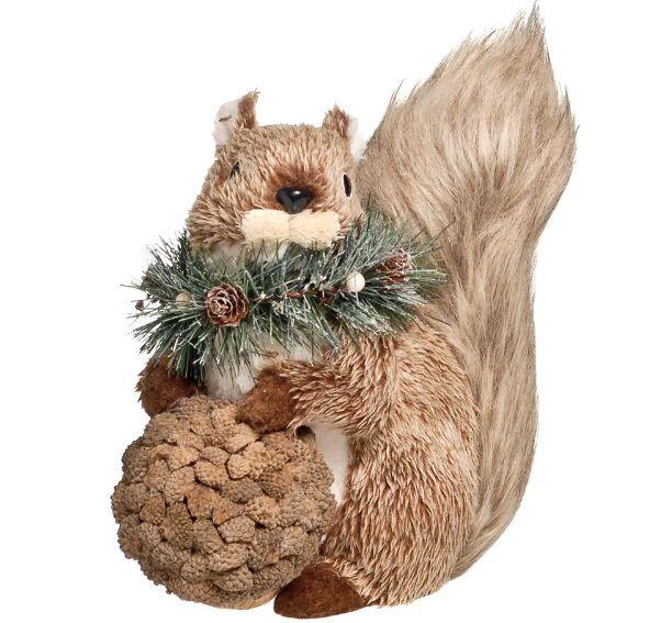 Esquilo Sentado Segurando Avelã 25cm - 01 unidade - Cromus Natal - Rizzo Embalagens