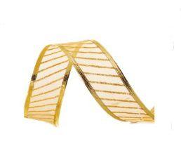 Fita Voal Com LIstras Ouro 6,3cm - 01 unidade 10m- Cromus Natal - Rizzo Embalagens