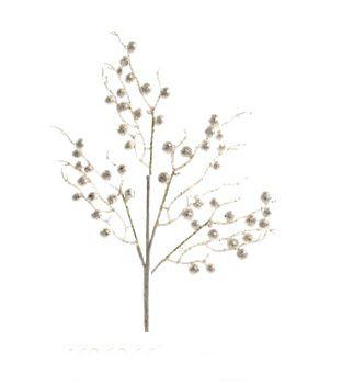 Galho Médio Frutos Brancos 45cm - 01 unidade - Cromus Natal - Rizzo Embalagens