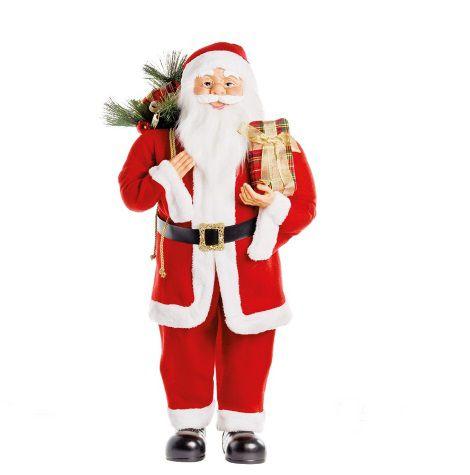 Papai Noel Em Pé Segurando Presente 90cm - 01 unidade - Cromus Natal - Rizzo Embalagens