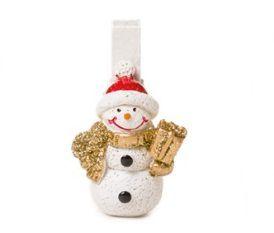 Prendedor Branco Boneco de Neve - 06 unidades - Cromus Natal - Rizzo Embalagens