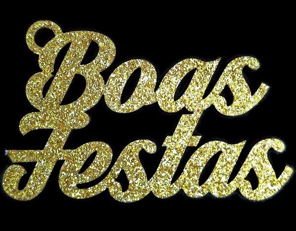 Tag de Decoração Boas Festas Glitter Dourado Sonho Fino Rizzo Embalagens
