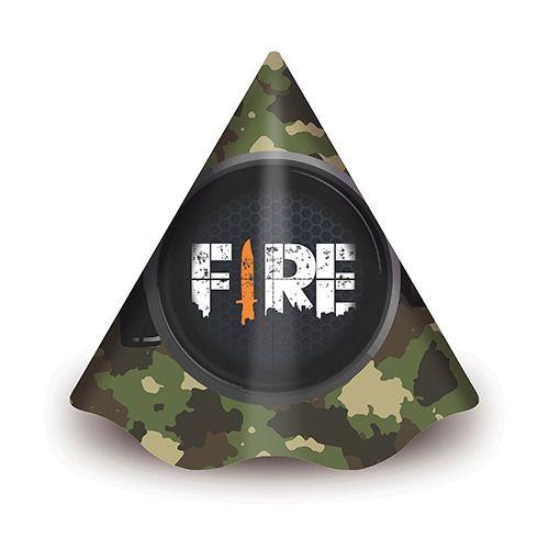 Chapéu Aniversário - Festa Free Fire - 08 Unidades - Junco - Rizzo Festas