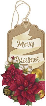 Tag de MDF Poinsetias Merry Christmas 15,5cm - 01 unidade - Litoarte - Rizzo Embalagens