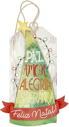 Tag de MDF Árvore de Natal 15,6cm - 01 unidade - Litoarte - Rizzo Embalagens
