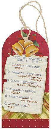 Tag de MDF Lista de Natal 14,3cm - 01 unidade - Litoarte - Rizzo Embalagens