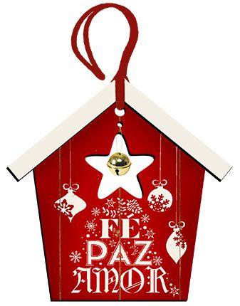 Tag de MDF Casinha Vermelha Fé Paz e Amor 12,5cm - 01 unidade - Litoarte - Rizzo Embalagens