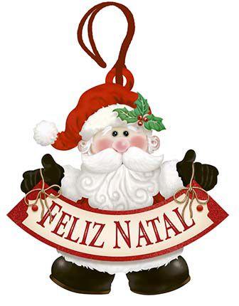 Tag de MDF Papai Noel Feliz Natal 8,6cm - 01 unidade - Litoarte - Rizzo Embalagens