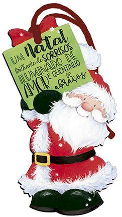 Tag de MDF Papai Noel com Placa Verde 14,3cm - 01 unidade - Litoarte - Rizzo Embalagens