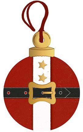 Tag de MDF Bola Roupa Papai Noel 8cm - 01 unidade - Litoarte - Rizzo Embalagens