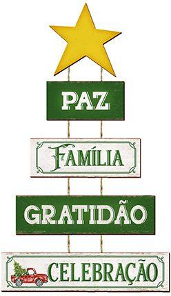 Plaquinha de MDF Pinheiro Paz Amor e Gratidão 59cm - 01 unidade - Litoarte - Rizzo Embalagens