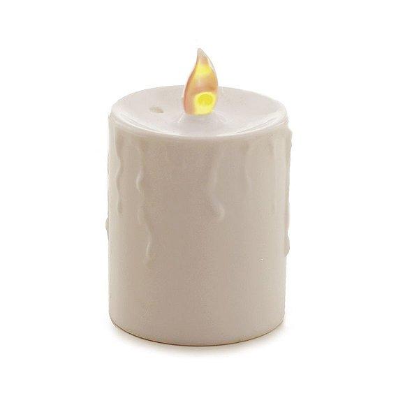 Vela Pilar Eletrônica Luz Amarela a Pilha 10cm - 06 unidades - Cromus Natal - Rizzo Embalagens