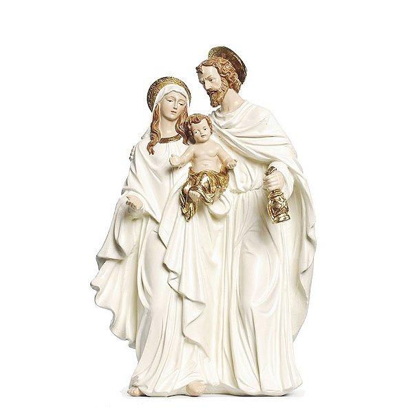 Sagrada Família de Resina Branco e Ouro 30cm - 01 unidade - Cromus Natal - Rizzo Embalagens