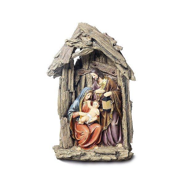 Sagrada Família Casa com Luz LED 30cm - 01 unidade - Cromus Natal - Rizzo Embalagens