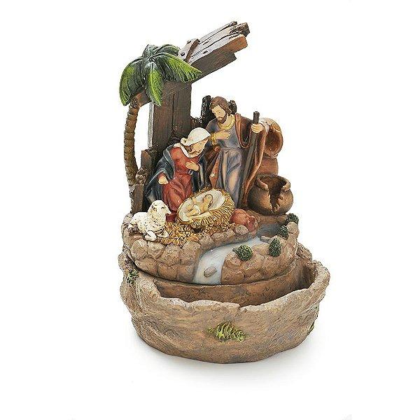 Sagrada Família com Fonte de Água 127V 25cm- 01 unidade - Cromus Natal - Rizzo Embalagens
