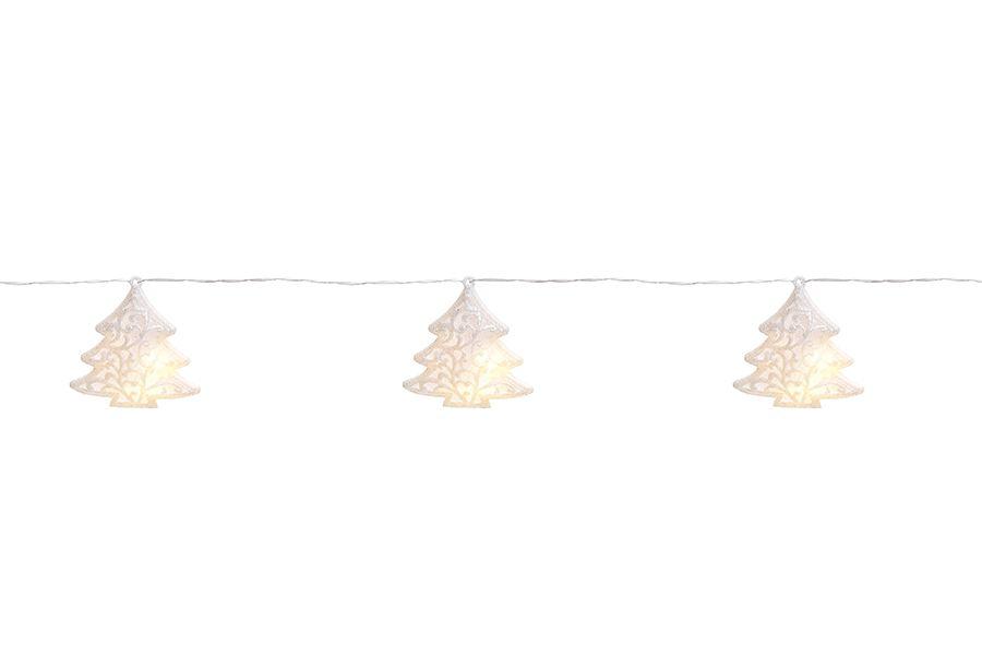 Cordão de Led Árvore Branca Glitter 10 leds a Pilha- 01 unidade - Cromus Natal - Rizzo Embalagens