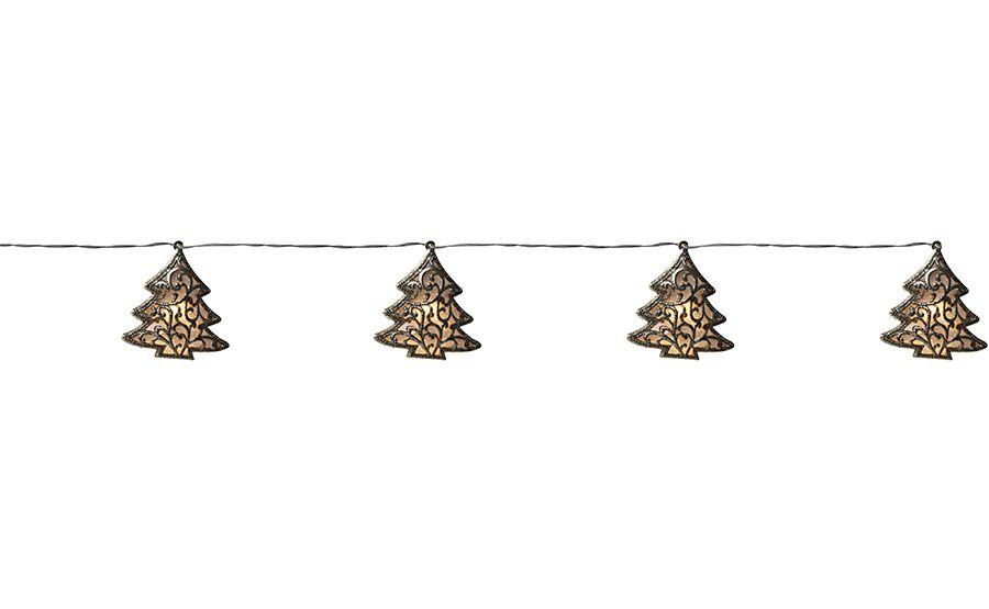 Cordão de Led Árvore Ouro Glitter 10 leds a Pilha- 01 unidade - Cromus Natal - Rizzo Embalagens