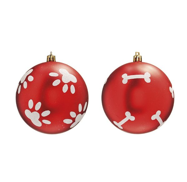 Bola Pet Mania Osso e Patinha Vermelho 10cm - 02 unidades - Cromus Natal - Rizzo Embalagens