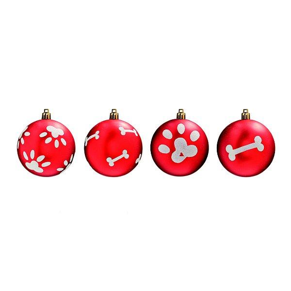 Bola Pet Mania Osso e Patinha Vermelho 6cm - 06 unidades - Cromus Natal - Rizzo Embalagens