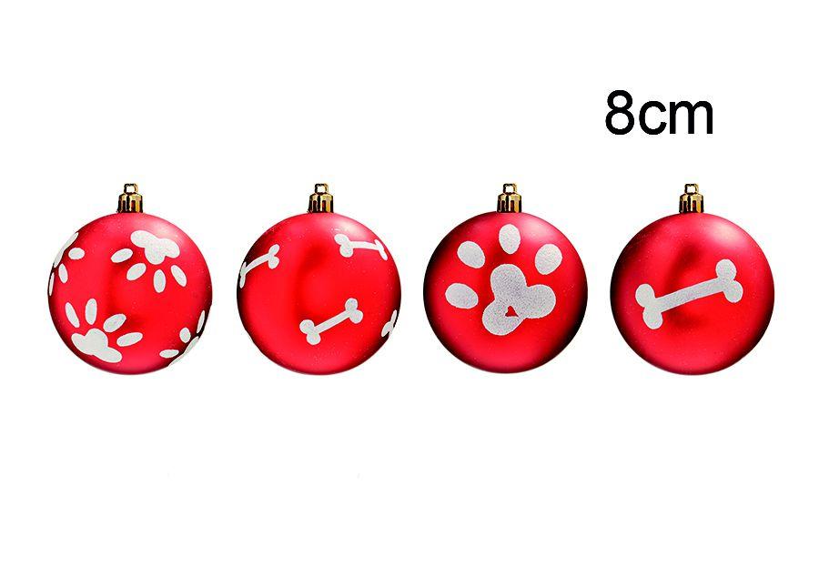 Bola Pet Mania Osso e Patinha Vermelho 8cm - 04 unidades - Cromus Natal - Rizzo Embalagens
