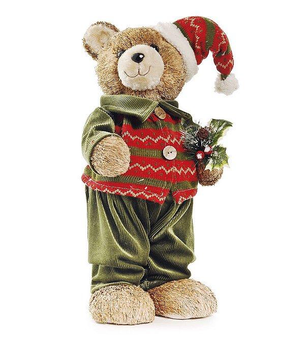 Urso Crespinho com Calça e Gorro 45cm - 01 unidade - Cromus Natal - Rizzo Embalagens