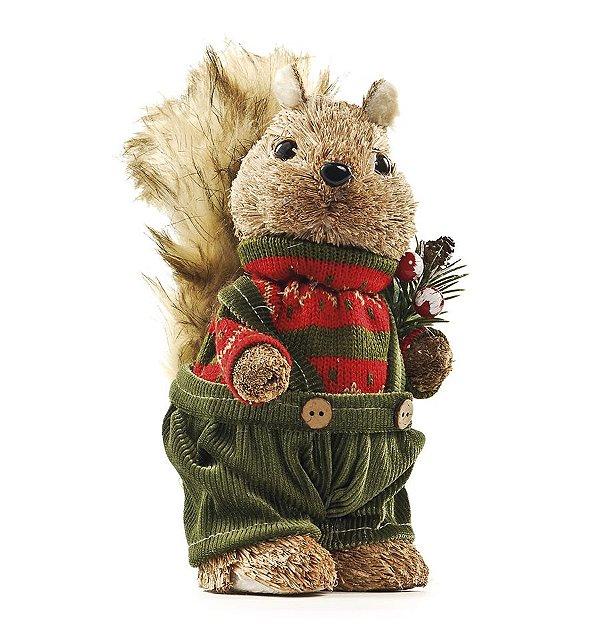 Esquilo Crespinho com Calça Verde 25cm - 01 unidade - Cromus Natal - Rizzo Embalagens