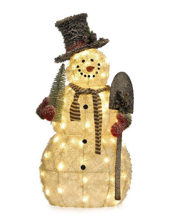 Boneco de Neve LED 115cm 220V - 01 unidade - Cromus Natal - Rizzo Embalagens