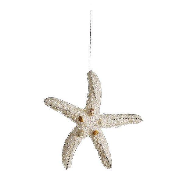 Enfeite para Pendurar Estrela do Mar 20cm Seychelles - 06 unidades - Cromus Natal - Rizzo Embalagens