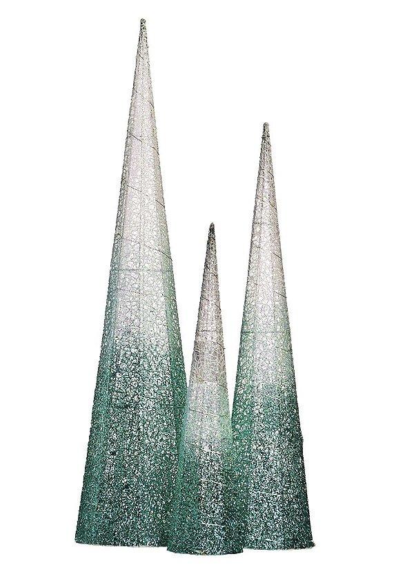Cones Nevados com Led Verde Água - 03 unidades - Cromus Natal - Rizzo Embalagens
