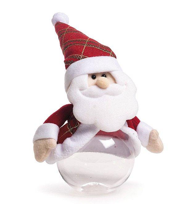 Jogo de Potinhos Noel Xadrez Vermelho e Verde 15cm - 04 unidades - Cromus Natal - Rizzo Embalagens