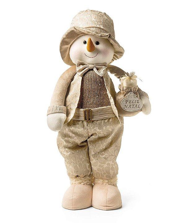 Boneco de Neve em Pé com Presente Nude 60cm - 01 unidade - Cromus Natal - Rizzo Embalagens
