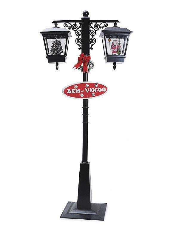 Poste Duplo Preto Noel e Pinheiro 180cm 127V - 01 unidade - Cromus Natal - Rizzo Embalagens