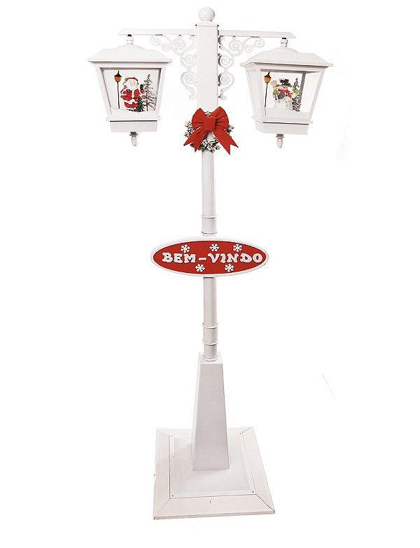 Poste Duplo Branco Noel e Pinheiro 180cm 127V - 01 unidade - Cromus Natal - Rizzo Embalagens