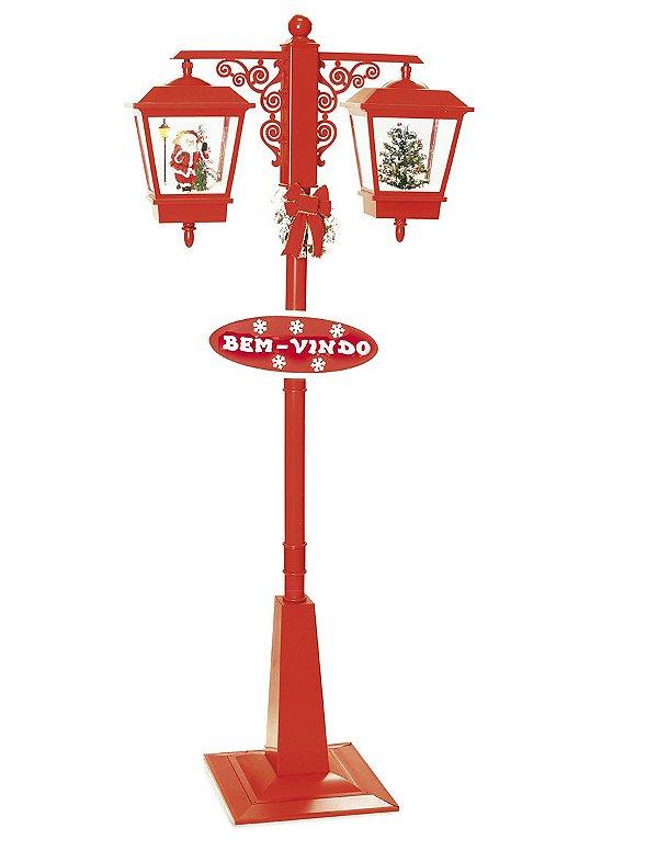 Poste Duplo Vermelho Noel e Pinheiro 180cm 127V - 01 unidade - Cromus Natal - Rizzo Embalagens